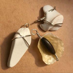 Handmade Beachy Seashell Pendants Set/ Bundle